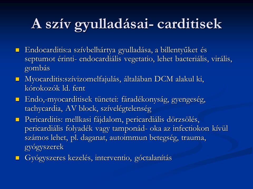A szív gyulladásai- carditisek Endocarditis:a szívbelhártya gyulladása, a billentyűket és septumot érinti- endocardiális vegetatio, lehet bacteriális, virális, gombás Endocarditis:a szívbelhártya gyulladása, a billentyűket és septumot érinti- endocardiális vegetatio, lehet bacteriális, virális, gombás Myocarditis:szívizomelfajulás, általában DCM alakul ki, kórokozók ld.