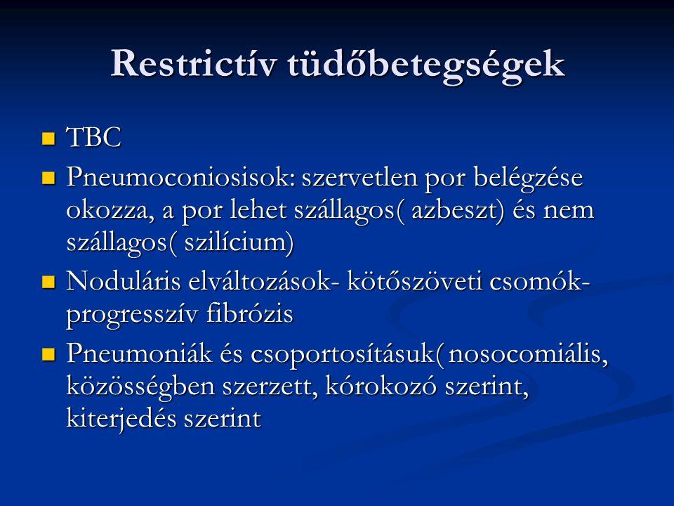 Restrictív tüdőbetegségek TBC TBC Pneumoconiosisok: szervetlen por belégzése okozza, a por lehet szállagos( azbeszt) és nem szállagos( szilícium) Pneumoconiosisok: szervetlen por belégzése okozza, a por lehet szállagos( azbeszt) és nem szállagos( szilícium) Noduláris elváltozások- kötőszöveti csomók- progresszív fibrózis Noduláris elváltozások- kötőszöveti csomók- progresszív fibrózis Pneumoniák és csoportosításuk( nosocomiális, közösségben szerzett, kórokozó szerint, kiterjedés szerint Pneumoniák és csoportosításuk( nosocomiális, közösségben szerzett, kórokozó szerint, kiterjedés szerint