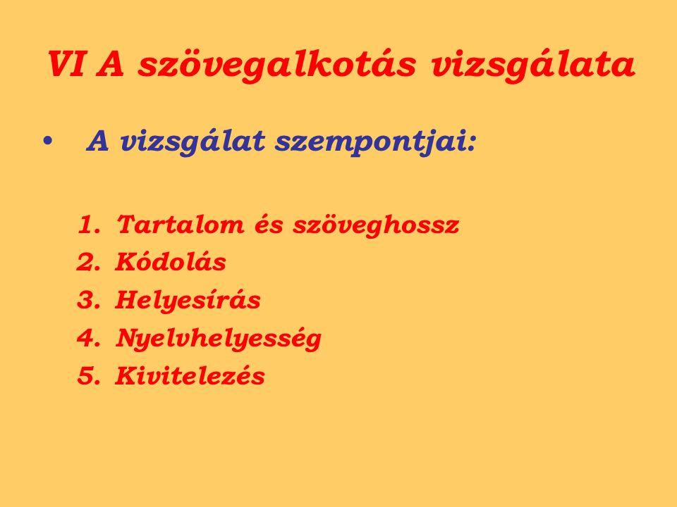 VI A szövegalkotás vizsgálata A vizsgálat szempontjai: 1.Tartalom és szöveghossz 2.Kódolás 3.Helyesírás 4.Nyelvhelyesség 5.Kivitelezés