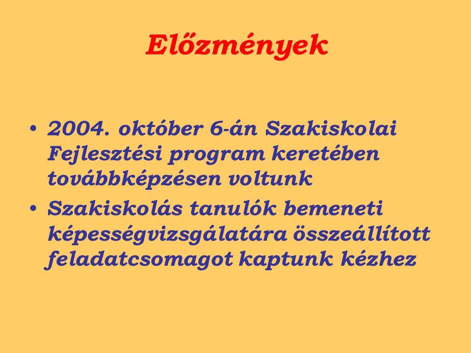 Előzmények 2004. október 6-án Szakiskolai Fejlesztési program keretében továbbképzésen voltunk Szakiskolás tanulók bemeneti képességvizsgálatára össze