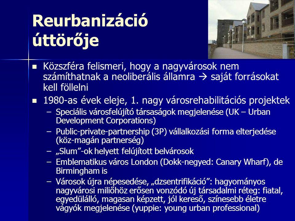 Reurbanizáció úttörője Közszféra felismeri, hogy a nagyvárosok nem számíthatnak a neoliberális államra  saját forrásokat kell föllelni 1980-as évek eleje, 1.