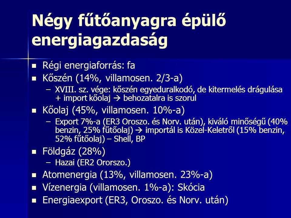 Négy fűtőanyagra épülő energiagazdaság Régi energiaforrás: fa Kőszén (14%, villamosen.