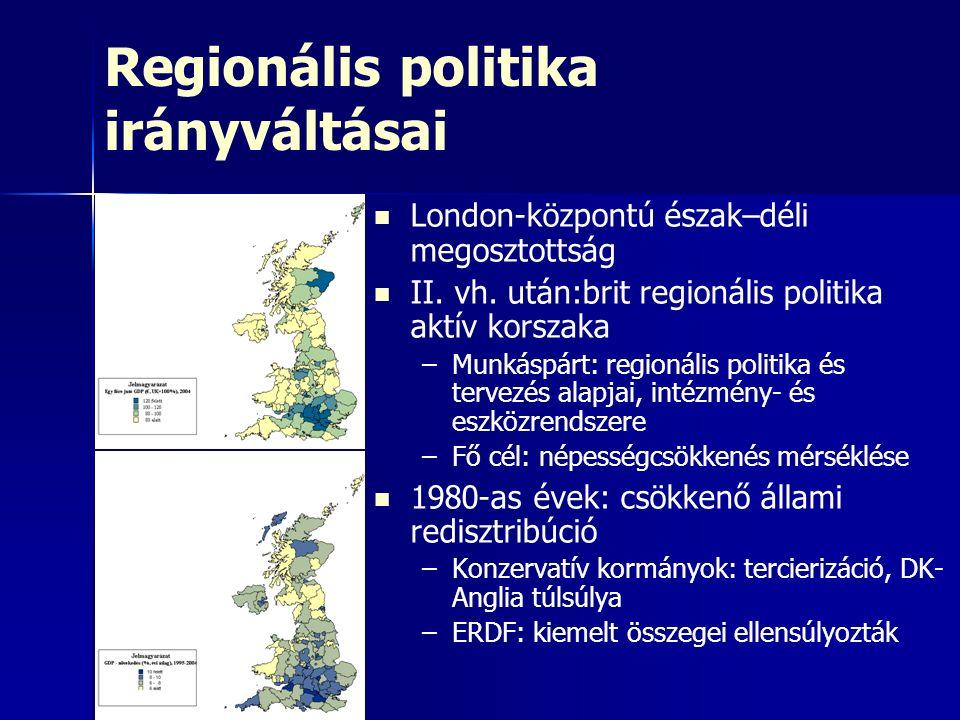 Regionális politika irányváltásai London-központú észak–déli megosztottság II.