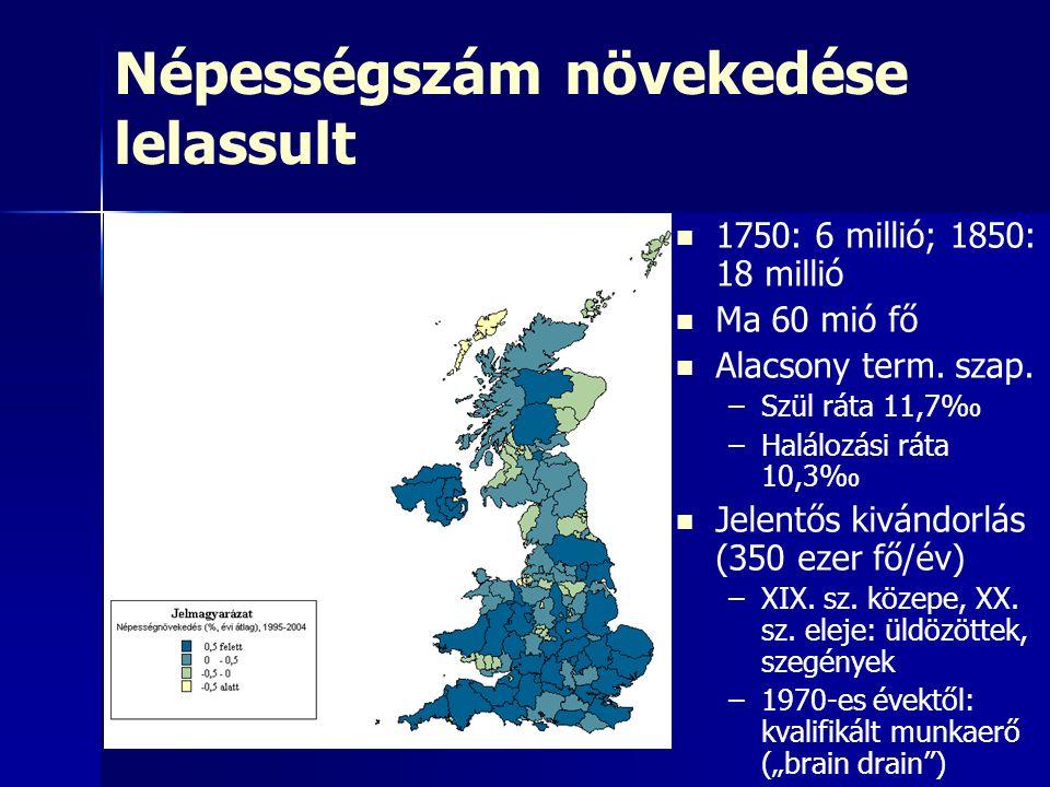 Népességszám növekedése lelassult 1750: 6 millió; 1850: 18 millió Ma 60 mió fő Alacsony term.