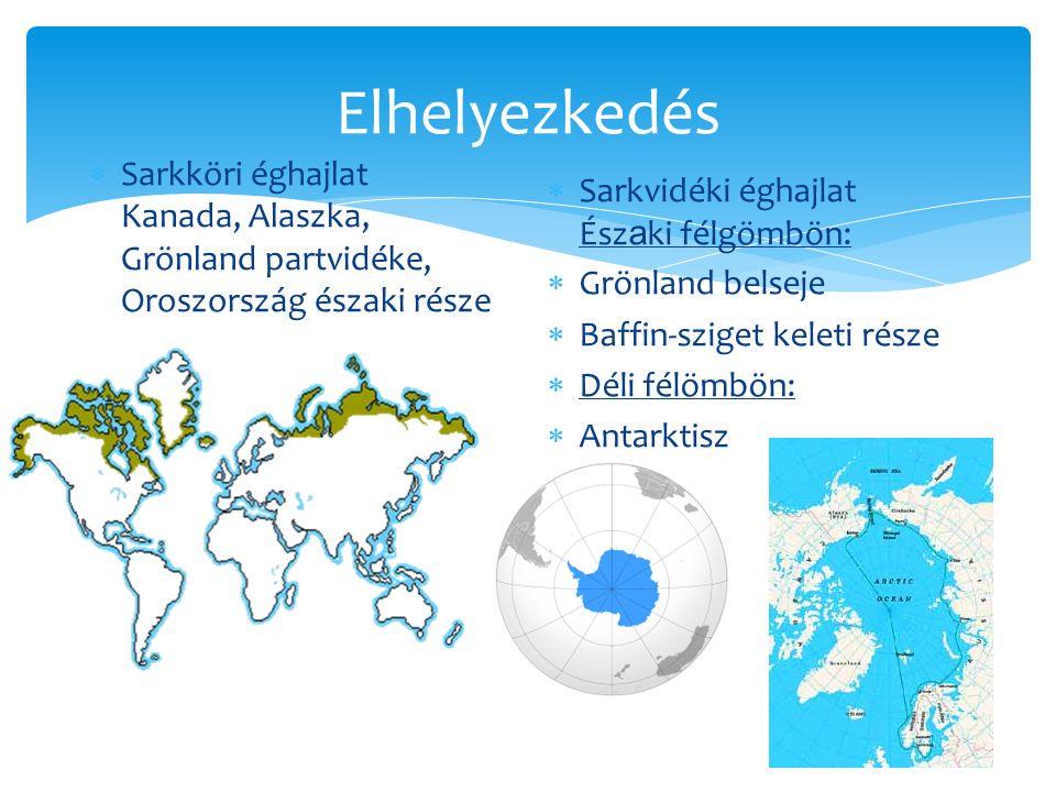 Elhelyezkedés  Sarkköri éghajlat Kanada, Alaszka, Grönland partvidéke, Oroszország északi része  Sarkvidéki éghajlat Ész a ki félgömbön:  Grönland