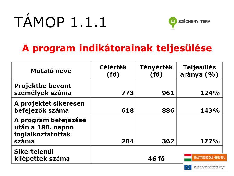 TÁMOP 1.1.1 A program indikátorainak teljesülése Mutató neve Célérték (fő) Tényérték (fő) Teljesülés aránya (%) Projektbe bevont személyek száma773961124% A projektet sikeresen befejezők száma618886143% A program befejezése után a 180.