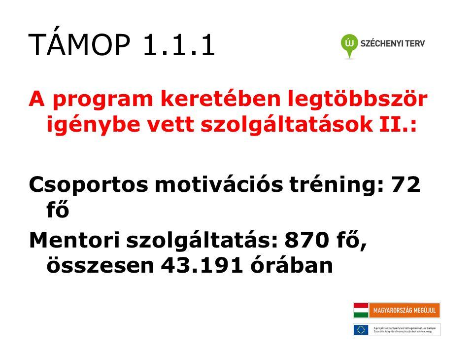 TÁMOP 1.1.1 A program keretében legtöbbször igénybe vett szolgáltatások II.: Csoportos motivációs tréning: 72 fő Mentori szolgáltatás: 870 fő, összesen 43.191 órában