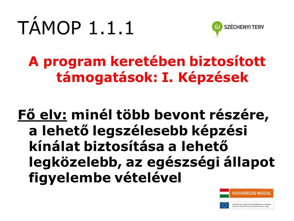 TÁMOP 1.1.1 A program keretében biztosított támogatások: I.