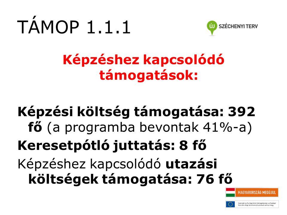 TÁMOP 1.1.1 Képzéshez kapcsolódó támogatások: Képzési költség támogatása: 392 fő (a programba bevontak 41%-a) Keresetpótló juttatás: 8 fő Képzéshez kapcsolódó utazási költségek támogatása: 76 fő