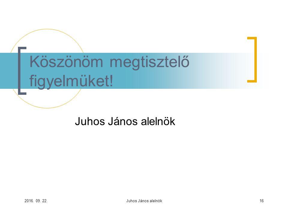 Juhos János alelnök Köszönöm megtisztelő figyelmüket! 2016. 09. 22.Juhos János alelnök16