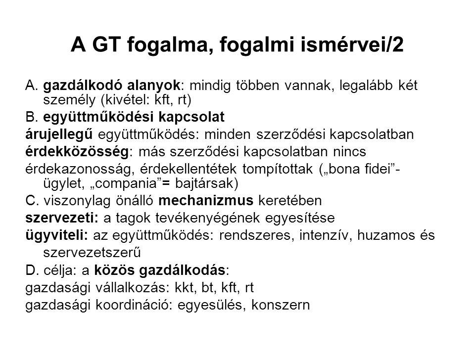 A GT fogalma, fogalmi ismérvei/2 A.