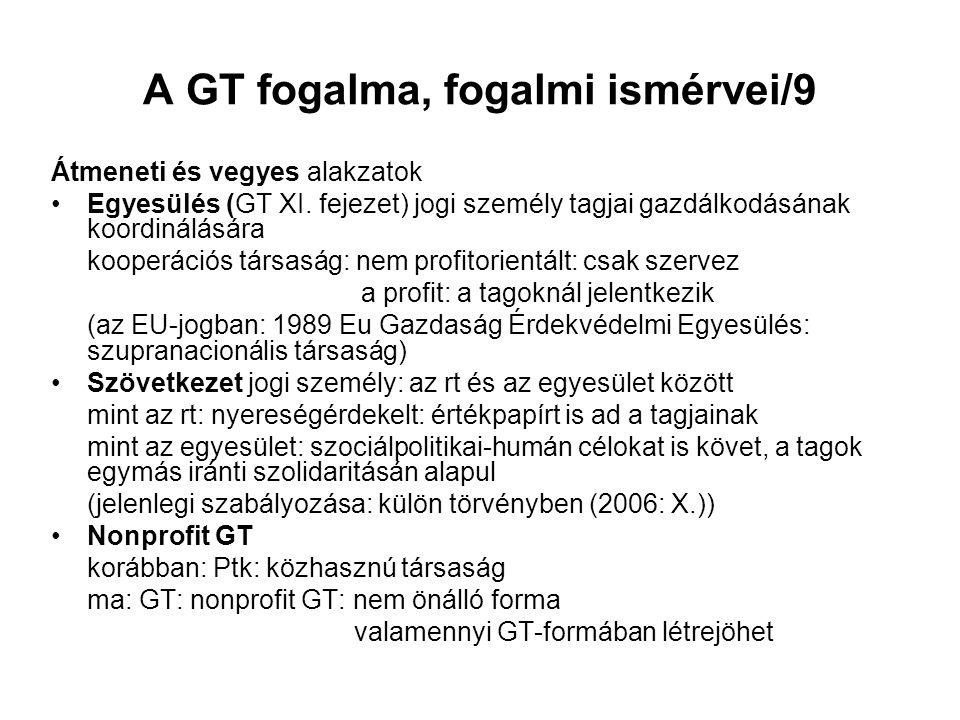 A GT fogalma, fogalmi ismérvei/9 Átmeneti és vegyes alakzatok Egyesülés (GT XI.