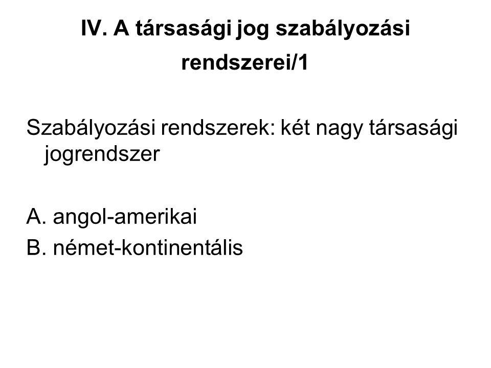 IV. A társasági jog szabályozási rendszerei/1 Szabályozási rendszerek: két nagy társasági jogrendszer A. angol-amerikai B. német-kontinentális