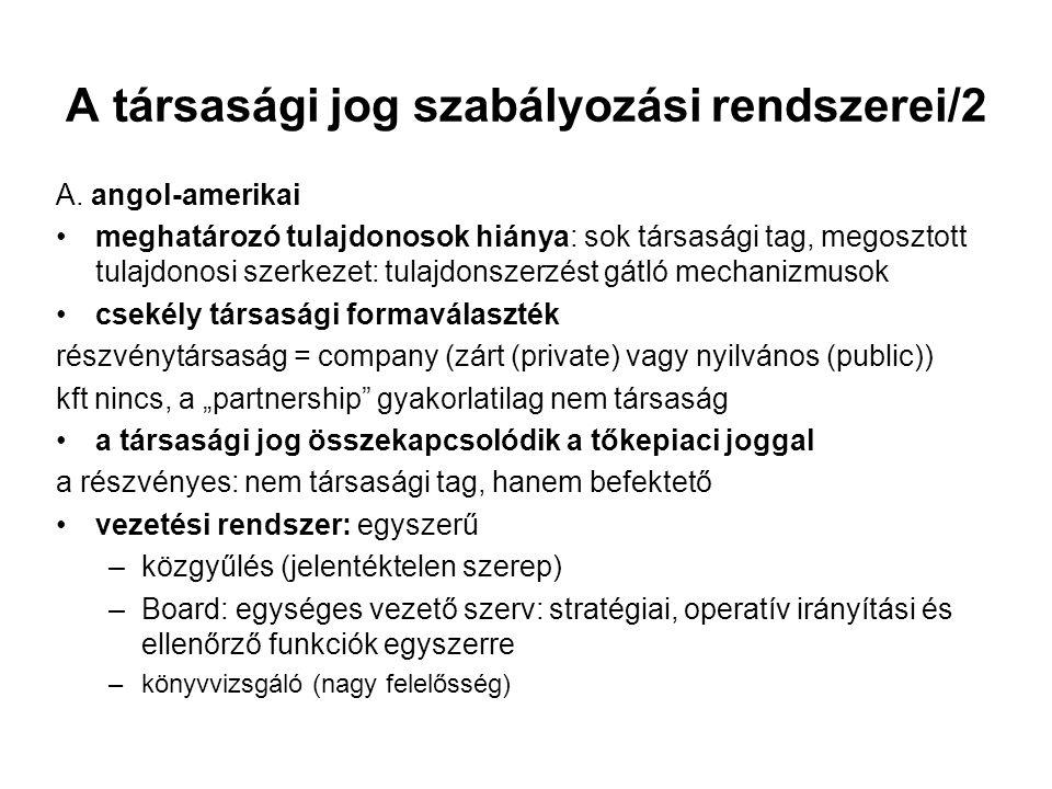 A társasági jog szabályozási rendszerei/2 A.