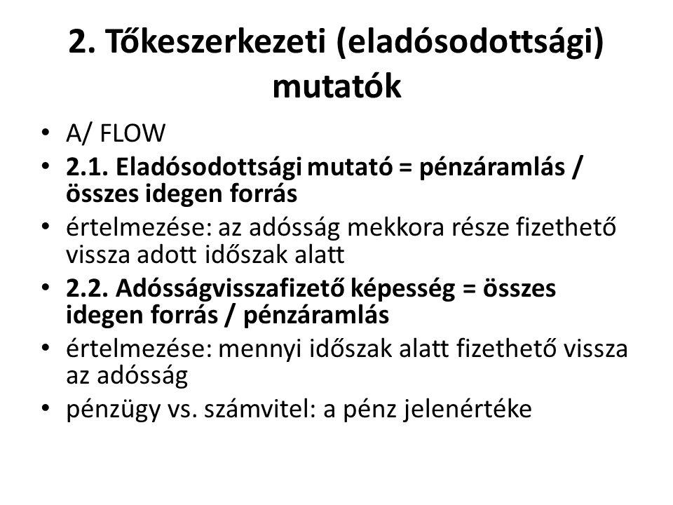 2. Tőkeszerkezeti (eladósodottsági) mutatók A/ FLOW 2.1.