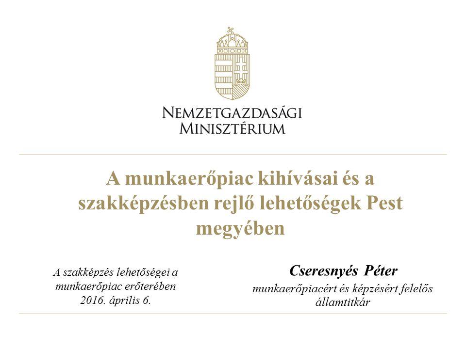 A munkaerőpiac kihívásai és a szakképzésben rejlő lehetőségek Pest megyében Cseresnyés Péter munkaerőpiacért és képzésért felelős államtitkár A szakké