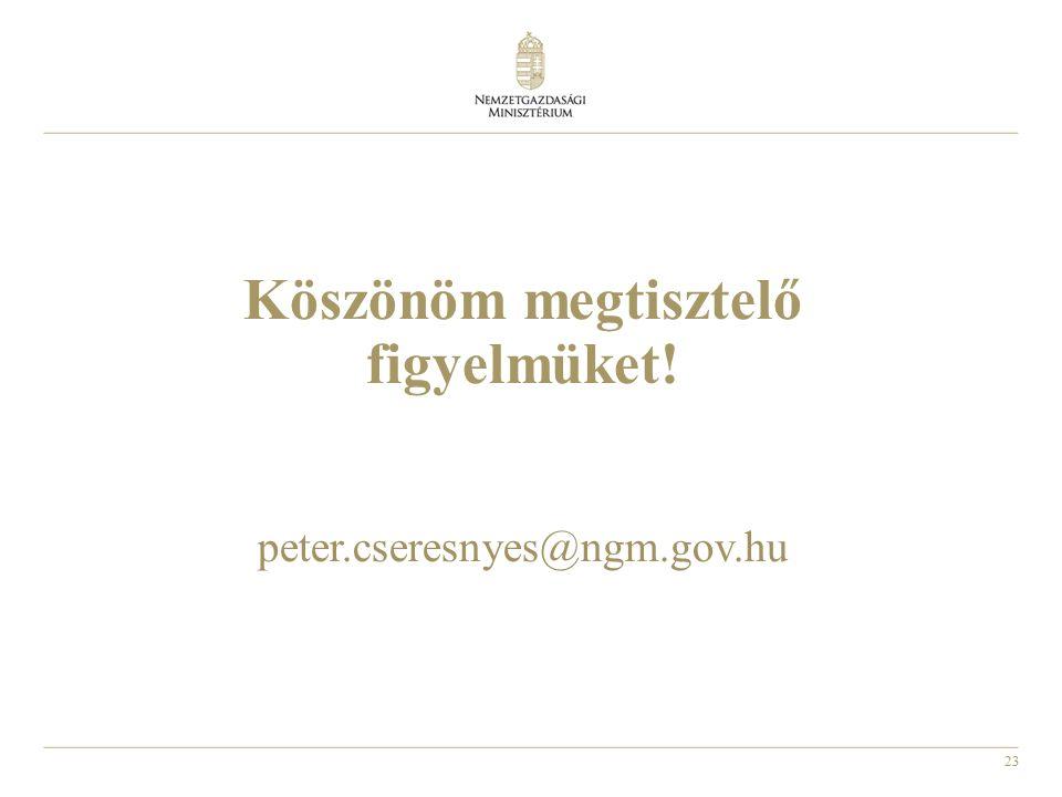 23 Köszönöm megtisztelő figyelmüket! peter.cseresnyes@ngm.gov.hu