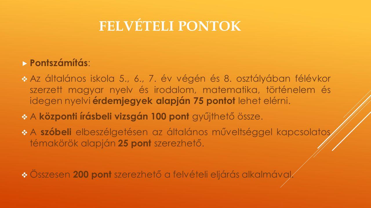 FELVÉTELI PONTOK  Pontszámítás :  Az általános iskola 5., 6., 7. év végén és 8. osztályában félévkor szerzett magyar nyelv és irodalom, matematika,