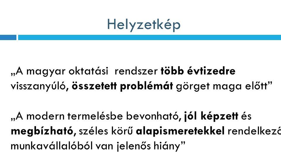 """Helyzetkép """"A magyar oktatási rendszer több évtizedre visszanyúló, összetett problémát görget maga előtt """"A modern termelésbe bevonható, jól képzett és megbízható, széles körű alapismeretekkel rendelkező munkavállalóból van jelenős hiány"""