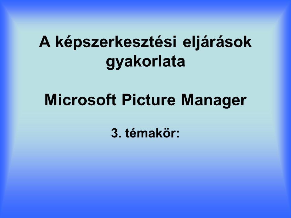 A képszerkesztési eljárások gyakorlata Microsoft Picture Manager 3. témakör: