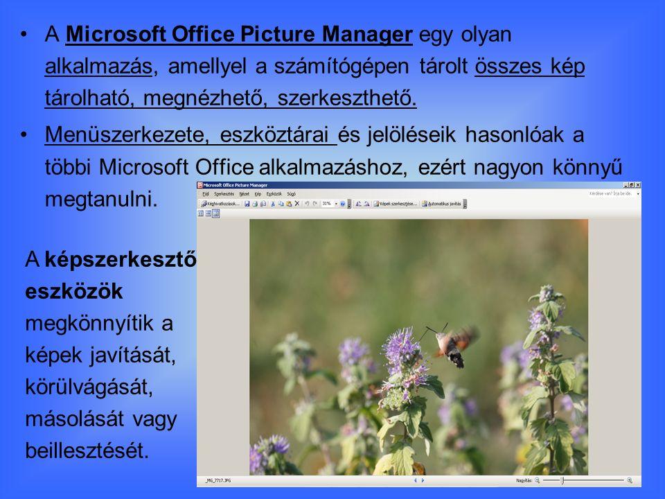 A Microsoft Office Picture Manager egy olyan alkalmazás, amellyel a számítógépen tárolt összes kép tárolható, megnézhető, szerkeszthető.