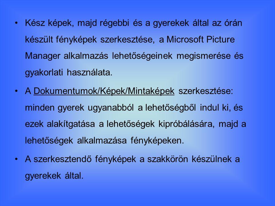 Kész képek, majd régebbi és a gyerekek által az órán készült fényképek szerkesztése, a Microsoft Picture Manager alkalmazás lehetőségeinek megismerése és gyakorlati használata.