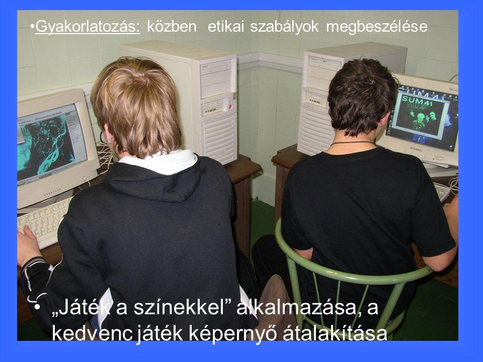 """""""Játék a színekkel alkalmazása, a kedvenc játék képernyő átalakítása Gyakorlatozás: közben etikai szabályok megbeszélése"""