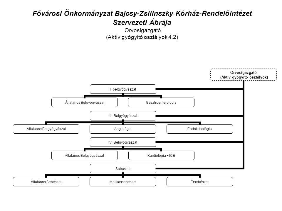 Fővárosi Önkormányzat Bajcsy-Zsilinszky Kórház-Rendelőintézet Szervezeti Ábrája Orvosigazgató (Aktív gyógyító osztályok 4.2) Orvosigazgató (Aktív gyógyító osztályok) I.