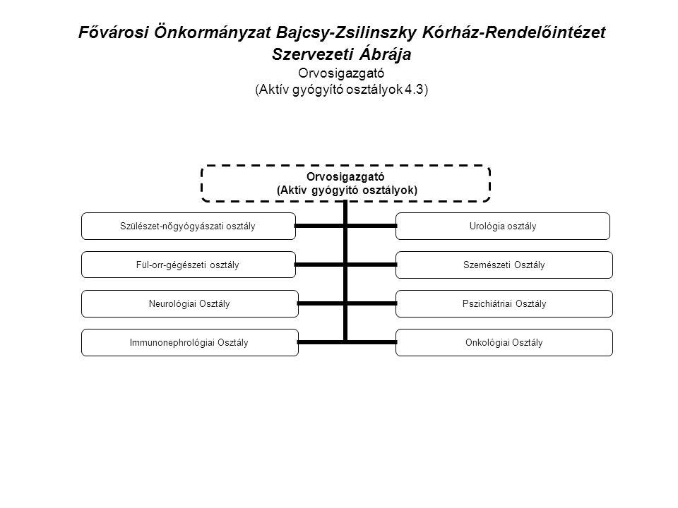 Fővárosi Önkormányzat Bajcsy-Zsilinszky Kórház-Rendelőintézet Szervezeti Ábrája Orvosigazgató (Aktív gyógyító osztályok 4.3) Orvosigazgató (Aktív gyógyító osztályok) Szülészet- nőgyógyászati osztály Urológia osztály Fül-orr-gégészeti osztály Szemészeti Osztály Neurológiai OsztályPszichiátriai Osztály Immunonephrológiai Osztály Onkológiai Osztály