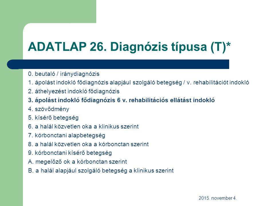 ADATLAP 26. Diagnózis típusa (T)* 0. beutaló / iránydiagnózis 1.