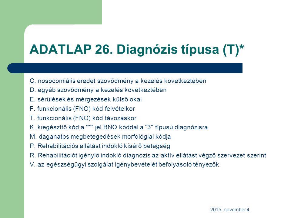 ADATLAP 26. Diagnózis típusa (T)* C. nosocomiális eredet szövődmény a kezelés következtében D.