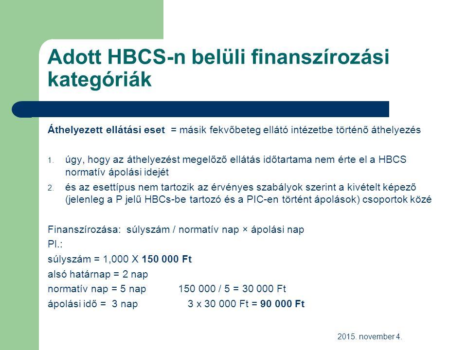Adott HBCS-n belüli finanszírozási kategóriák Áthelyezett ellátási eset = másik fekvőbeteg ellátó intézetbe történő áthelyezés 1.