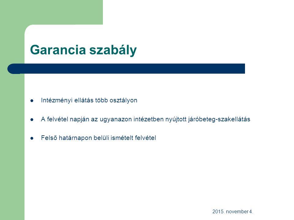 Garancia szabály Intézményi ellátás több osztályon A felvétel napján az ugyanazon intézetben nyújtott járóbeteg-szakellátás Felső határnapon belüli ismételt felvétel 2015.