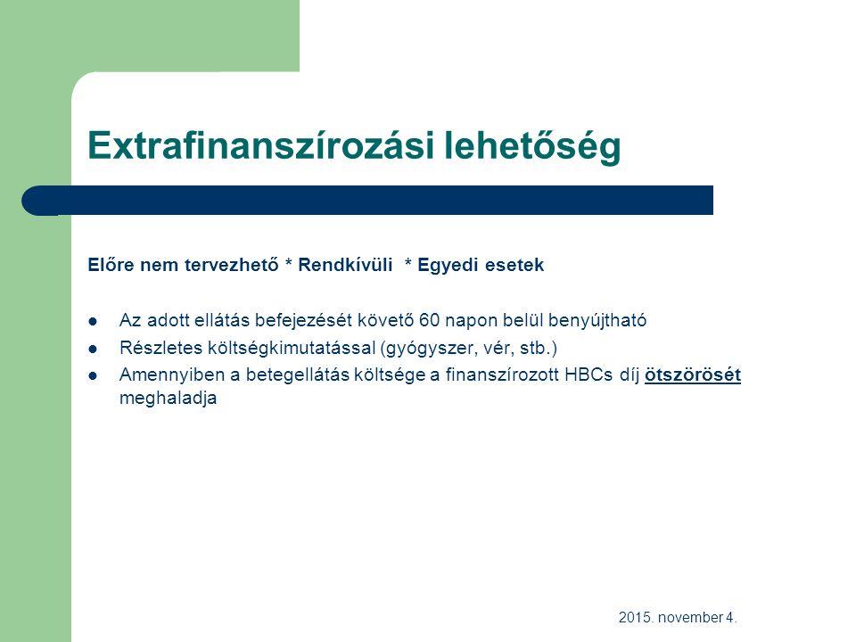 Extrafinanszírozási lehetőség Előre nem tervezhető * Rendkívüli * Egyedi esetek Az adott ellátás befejezését követő 60 napon belül benyújtható Részletes költségkimutatással (gyógyszer, vér, stb.) Amennyiben a betegellátás költsége a finanszírozott HBCs díj ötszörösét meghaladja 2015.