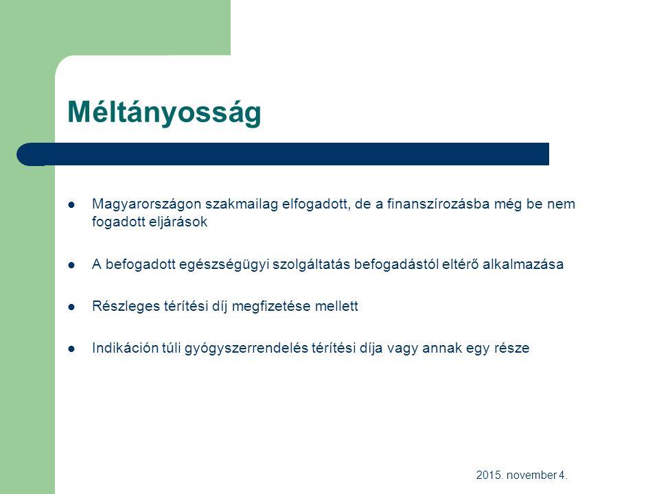 Méltányosság Magyarországon szakmailag elfogadott, de a finanszírozásba még be nem fogadott eljárások A befogadott egészségügyi szolgáltatás befogadástól eltérő alkalmazása Részleges térítési díj megfizetése mellett Indikáción túli gyógyszerrendelés térítési díja vagy annak egy része 2015.