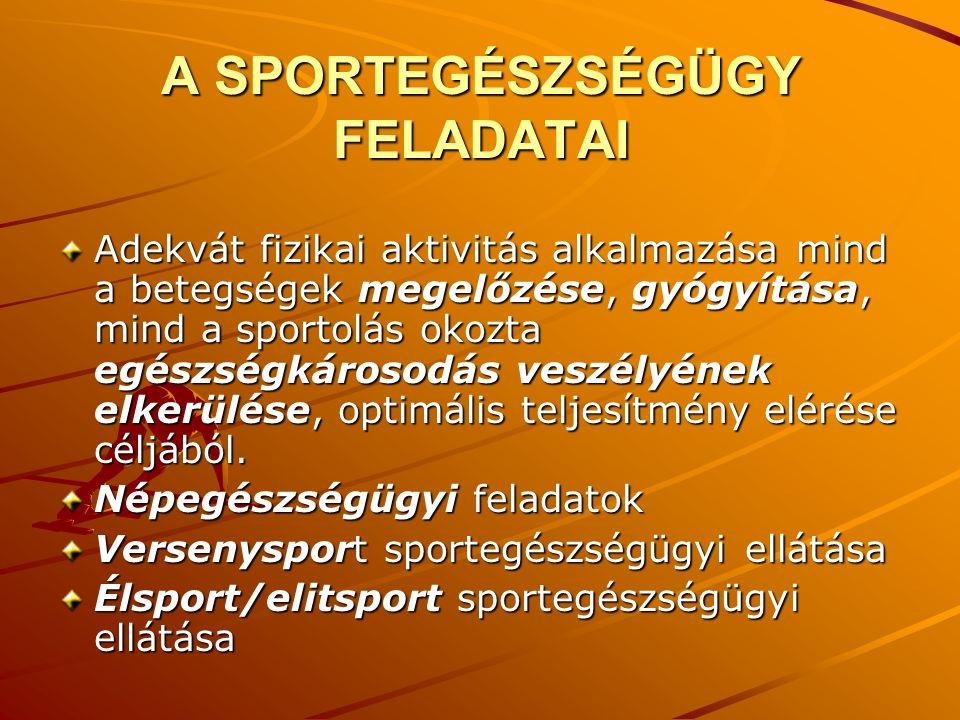 A SPORTEGÉSZSÉGÜGY FELADATAI Adekvát fizikai aktivitás alkalmazása mind a betegségek megelőzése, gyógyítása, mind a sportolás okozta egészségkárosodás