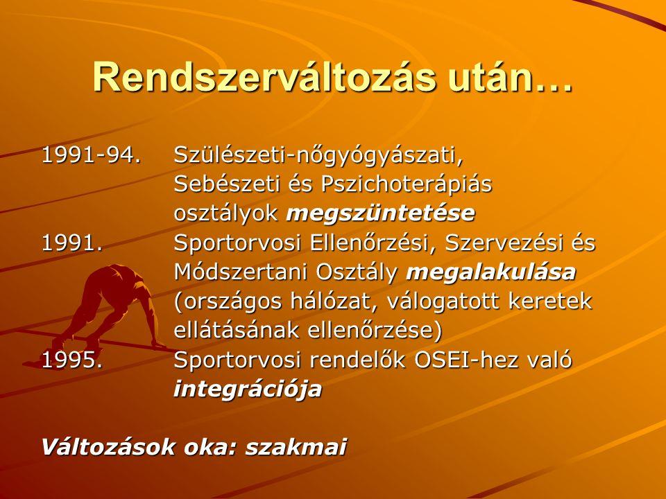Irigyelt sportegészségügyi intézet… 1995-2000.