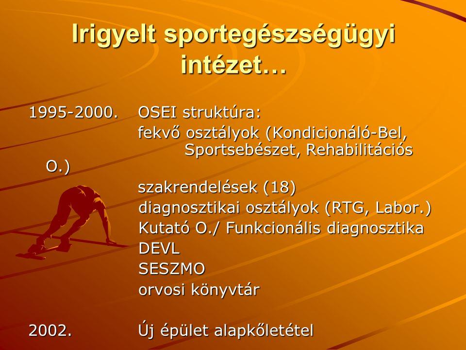 Irigyelt sportegészségügyi intézet… 1995-2000. OSEI struktúra: fekvő osztályok (Kondicionáló-Bel, Sportsebészet, Rehabilitációs O.) fekvő osztályok (K