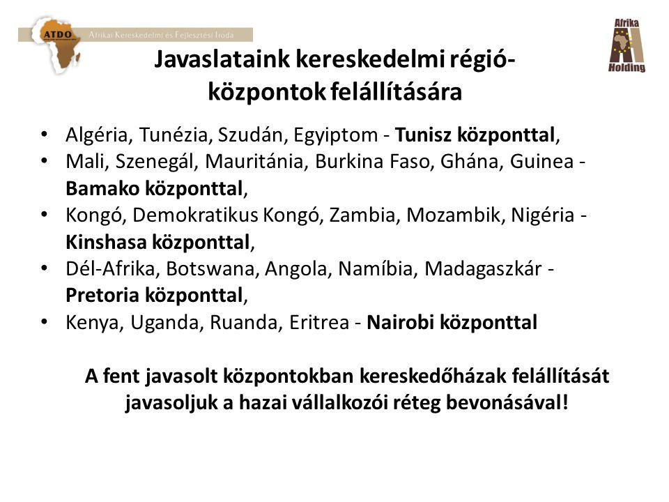 Javaslataink kereskedelmi régió- központok felállítására Algéria, Tunézia, Szudán, Egyiptom - Tunisz központtal, Mali, Szenegál, Mauritánia, Burkina Faso, Ghána, Guinea - Bamako központtal, Kongó, Demokratikus Kongó, Zambia, Mozambik, Nigéria - Kinshasa központtal, Dél-Afrika, Botswana, Angola, Namíbia, Madagaszkár - Pretoria központtal, Kenya, Uganda, Ruanda, Eritrea - Nairobi központtal A fent javasolt központokban kereskedőházak felállítását javasoljuk a hazai vállalkozói réteg bevonásával!