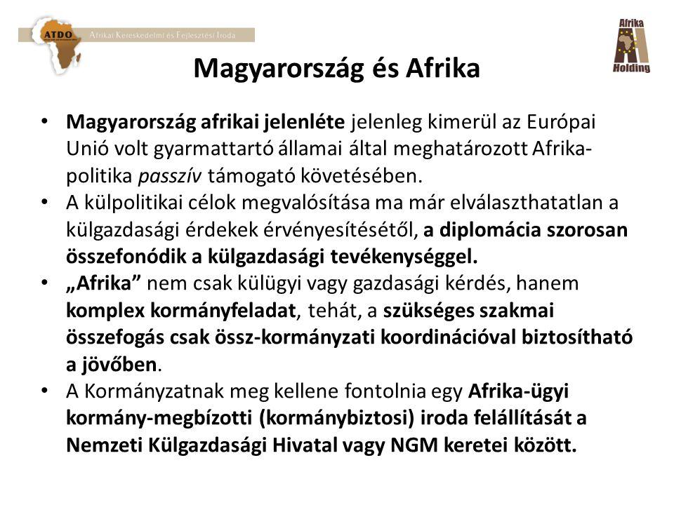 Magyarország és Afrika Magyarország afrikai jelenléte jelenleg kimerül az Európai Unió volt gyarmattartó államai által meghatározott Afrika- politika passzív támogató követésében.