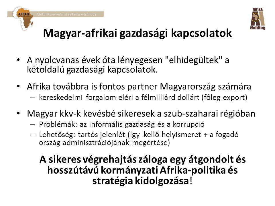 Magyar-afrikai gazdasági kapcsolatok A nyolcvanas évek óta lényegesen elhidegültek a kétoldalú gazdasági kapcsolatok.