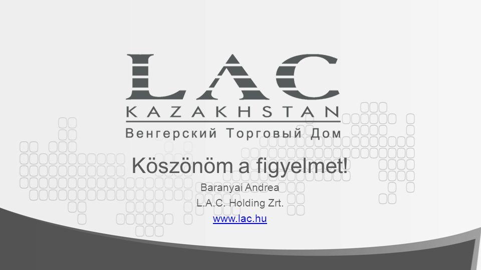 Köszönöm a figyelmet! Baranyai Andrea L.A.C. Holding Zrt. www.lac.hu