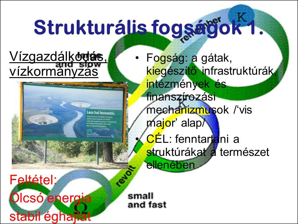 Strukturális fogságok 1. Vízgazdálkodás, vízkormányzás Feltétel: Olcsó energia stabil éghajlat Fogság: a gátak, kiegészítő infrastruktúrák, intézménye