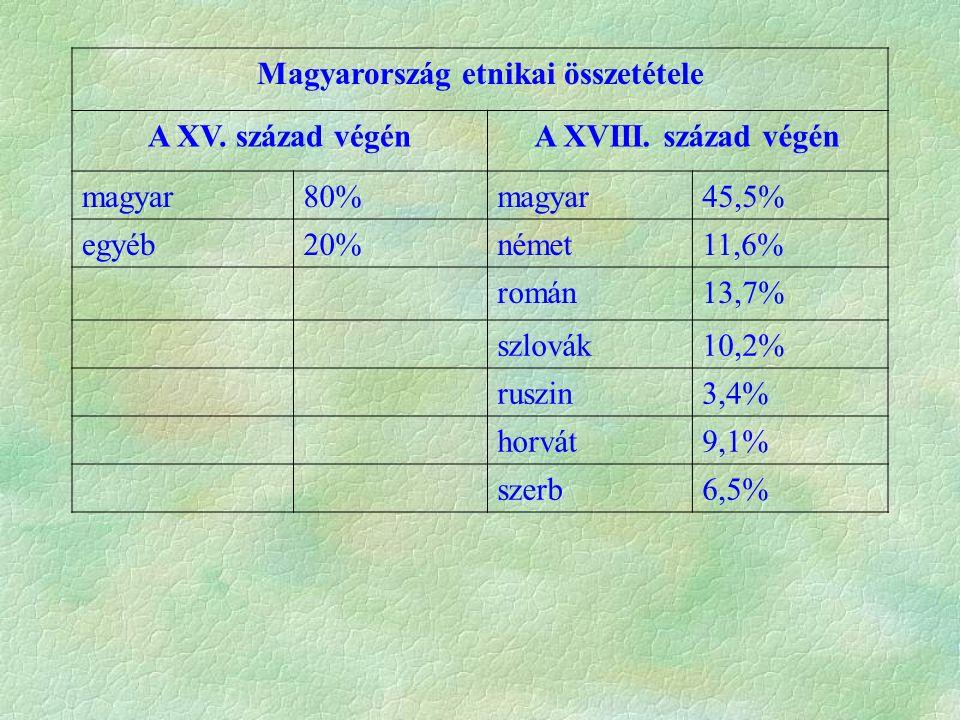 Magyarország etnikai összetétele A XV. század végénA XVIII. század végén magyar80%magyar45,5% egyéb20%német11,6% román13,7% szlovák10,2% ruszin3,4% ho