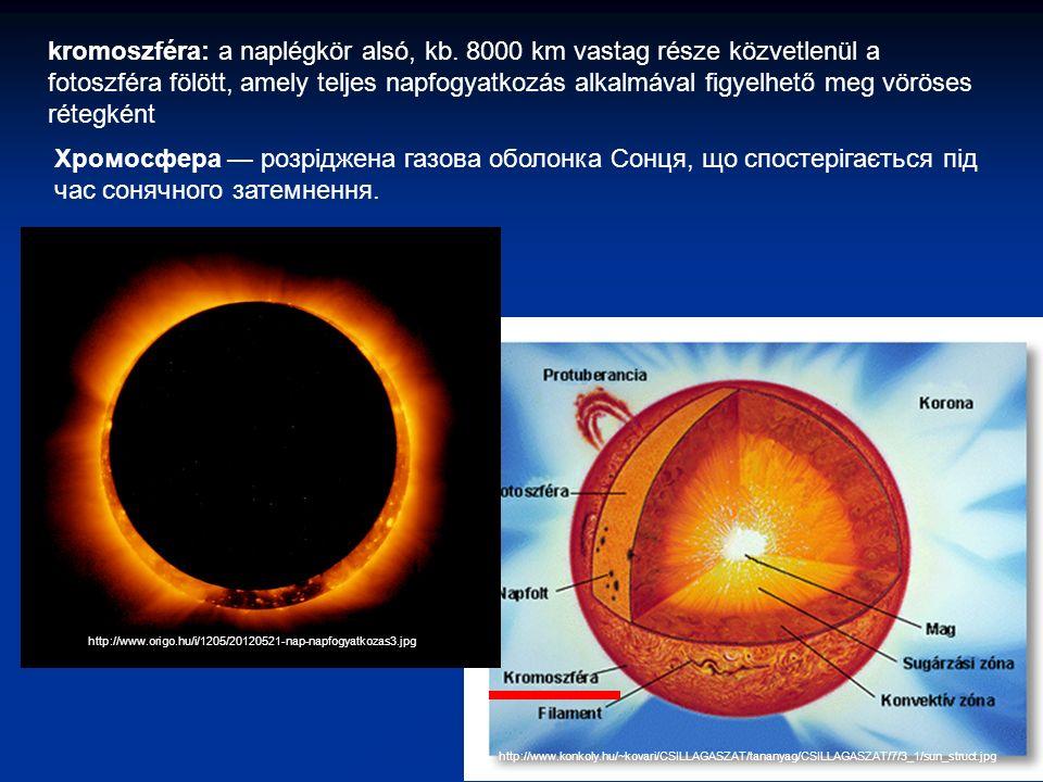 http://www.konkoly.hu/~kovari/CSILLAGASZAT/tananyag/CSILLAGASZAT/7/3_1/sun_struct.jpg kromoszféra: a naplégkör alsó, kb.