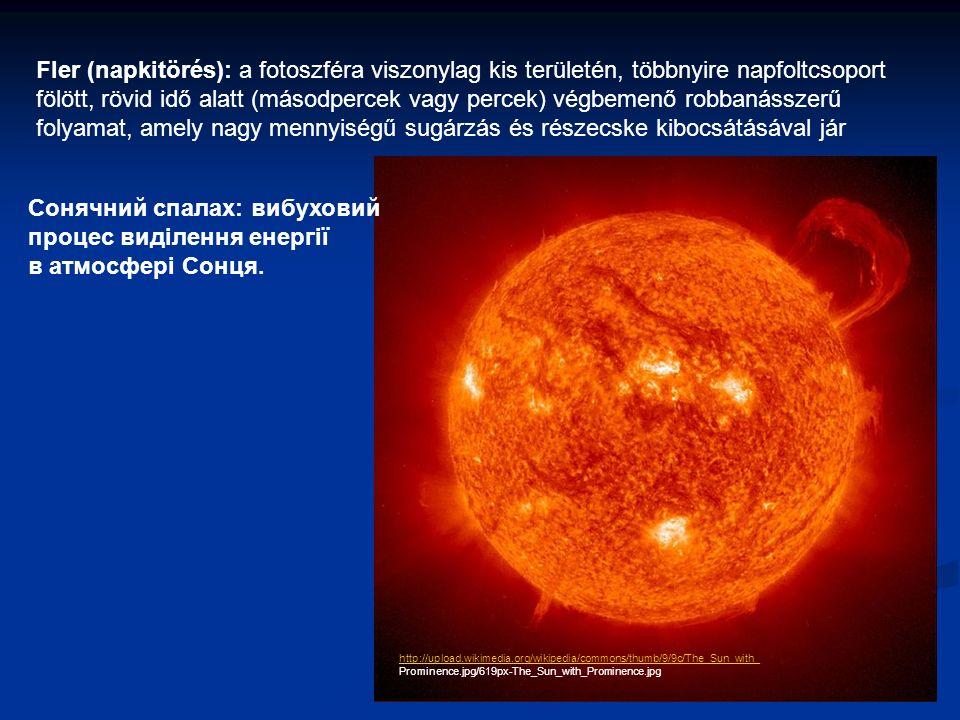 Fler (napkitörés): a fotoszféra viszonylag kis területén, többnyire napfoltcsoport fölött, rövid idő alatt (másodpercek vagy percek) végbemenő robbanásszerű folyamat, amely nagy mennyiségű sugárzás és részecske kibocsátásával jár http://upload.wikimedia.org/wikipedia/commons/thumb/9/9c/The_Sun_with_ Prominence.jpg/619px-The_Sun_with_Prominence.jpg Сонячний спалах: вибуховий процес виділення енергії в атмосфері Сонця.