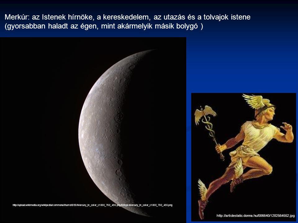http://articlestatic.donna.hu/006640/1282564552.jpg Merkúr: az Istenek hírnöke, a kereskedelem, az utazás és a tolvajok istene (gyorsabban haladt az égen, mint akármelyik másik bolygó ) http://upload.wikimedia.org/wikipedia/commons/thumb/5/53/Mercury_in_color_c1000_700_430.png/600px-Mercury_in_color_c1000_700_430.png