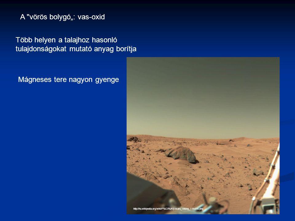 """http://hu.wikipedia.org/wiki/F%C3%A1jl:Mars_Viking_11h016.png A vörös bolygó"""": vas-oxid Több helyen a talajhoz hasonló tulajdonságokat mutató anyag borítja Mágneses tere nagyon gyenge"""