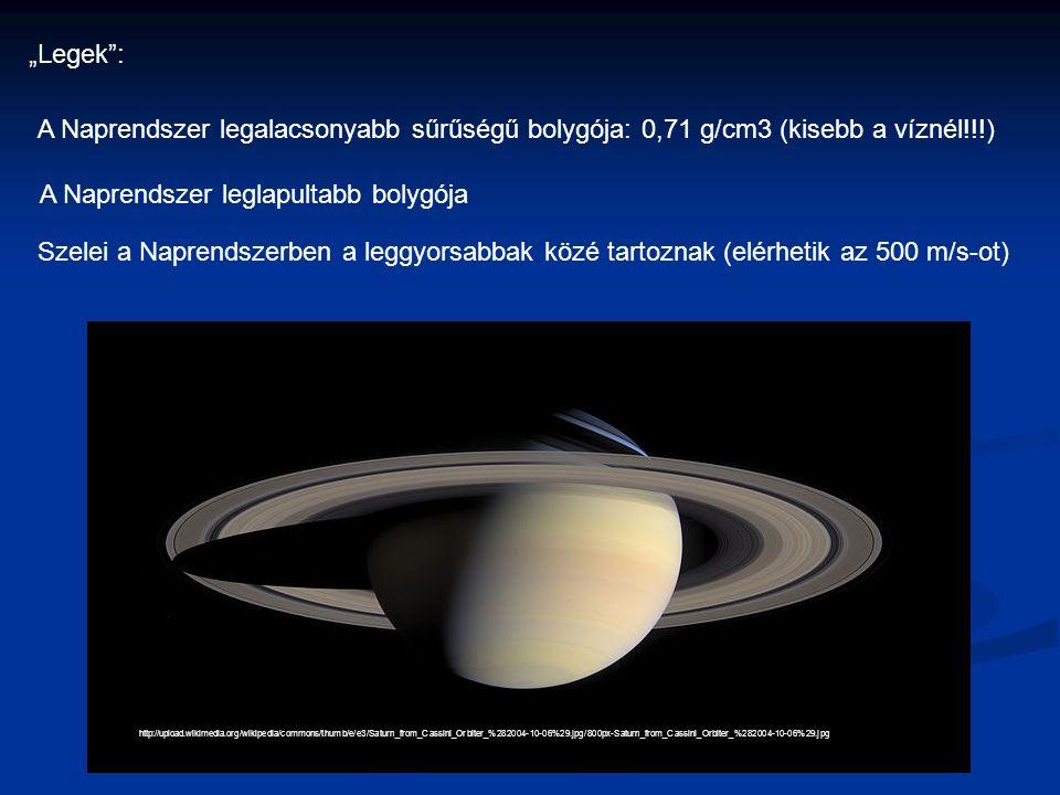 """http://upload.wikimedia.org/wikipedia/commons/thumb/e/e3/Saturn_from_Cassini_Orbiter_%282004-10-06%29.jpg/800px-Saturn_from_Cassini_Orbiter_%282004-10-06%29.jpg """"Legek : A Naprendszer legalacsonyabb sűrűségű bolygója: 0,71 g/cm3 (kisebb a víznél!!!) A Naprendszer leglapultabb bolygója Szelei a Naprendszerben a leggyorsabbak közé tartoznak (elérhetik az 500 m/s-ot)"""