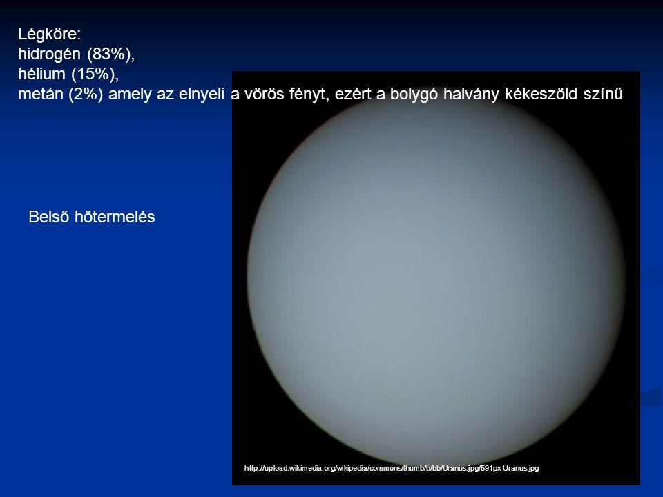 http://upload.wikimedia.org/wikipedia/commons/thumb/b/bb/Uranus.jpg/591px-Uranus.jpg Légköre: hidrogén (83%), hélium (15%), metán (2%) amely az elnyeli a vörös fényt, ezért a bolygó halvány kékeszöld színű Belső hőtermelés